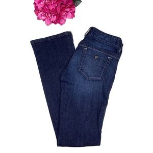 GUESS Dark Denim Flare Leg Wide Waistband Jeans 28